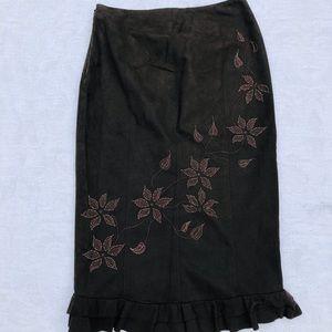 KAREN MILLEN**Brown Embroidery Pencil Skirt